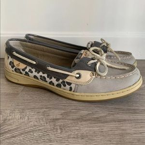 Sperry Angelfish Gray Leopard Print Boat Shoe